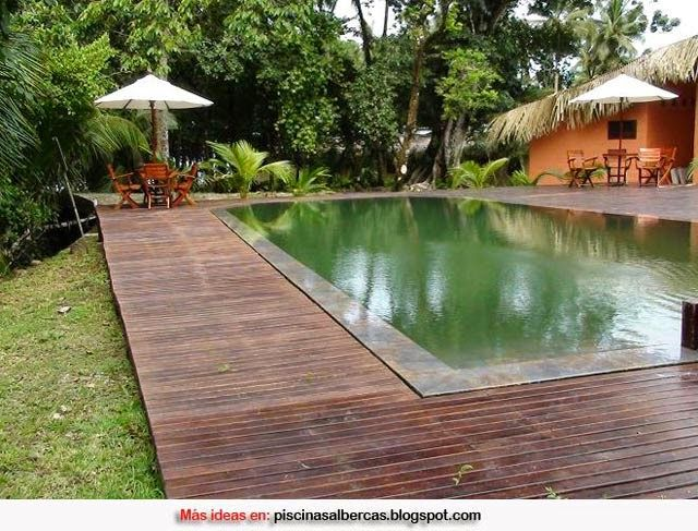 Piscinas con bordes de madera piscinas pinterest for Bordes decorativos para piscinas