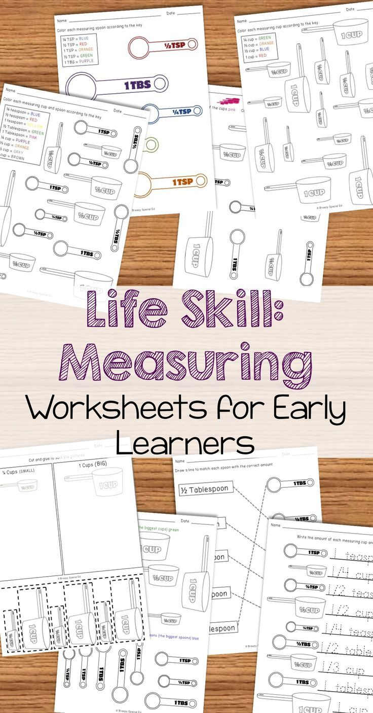 Worksheets Measuring Cups Worksheets measuring cups and spoons identification worksheets special education cool tas