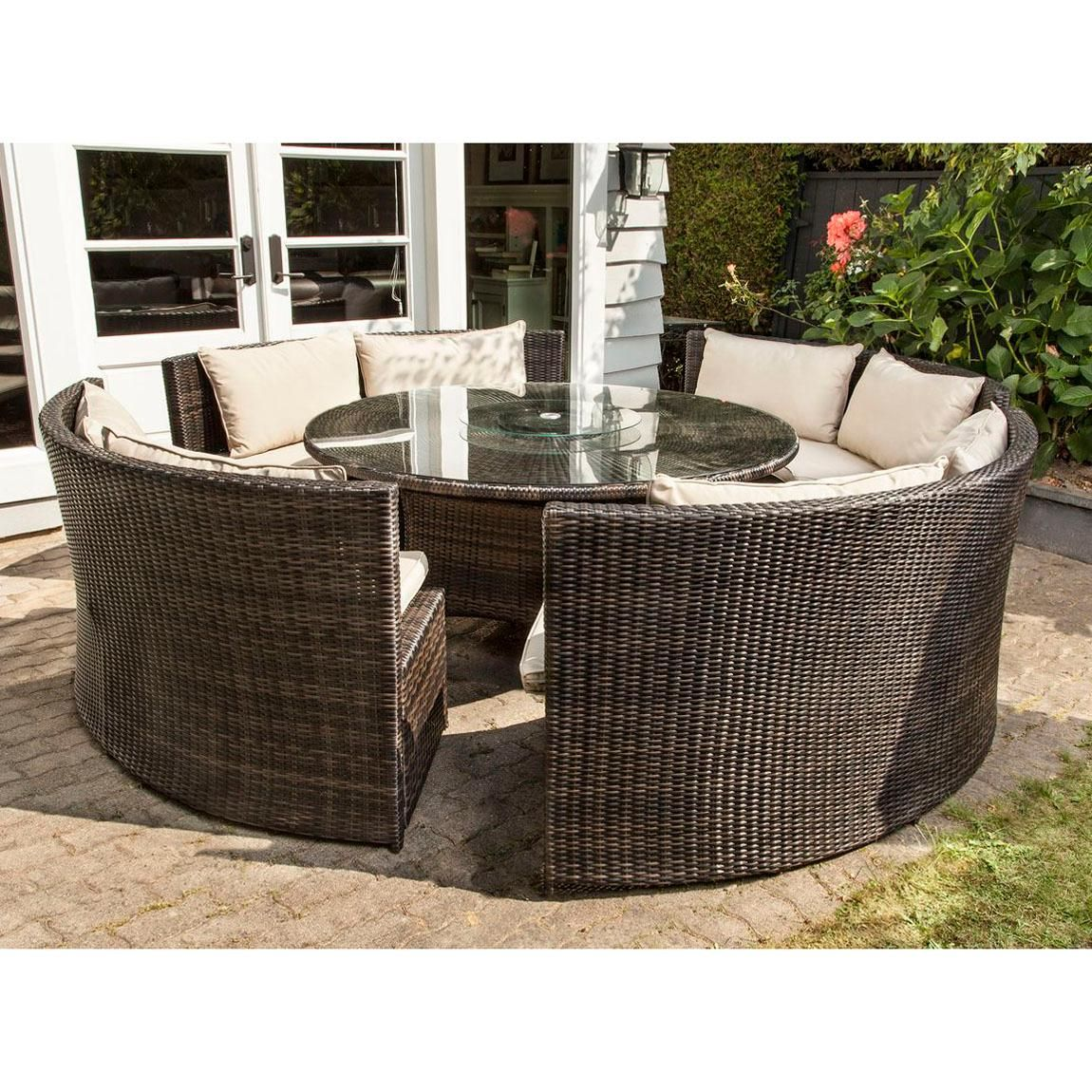 A Handmaid 5 Piece Outdoor Curved Bench Dining Set That