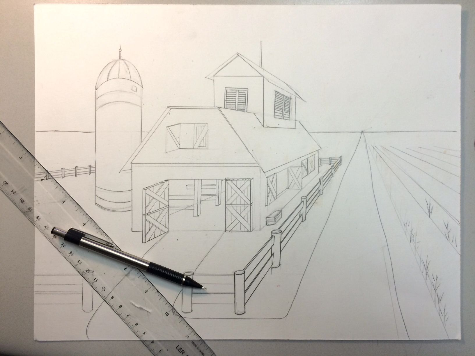 Dessin Immeuble En Perspective One Point Perspective Barn Watercolor Painting Lesson