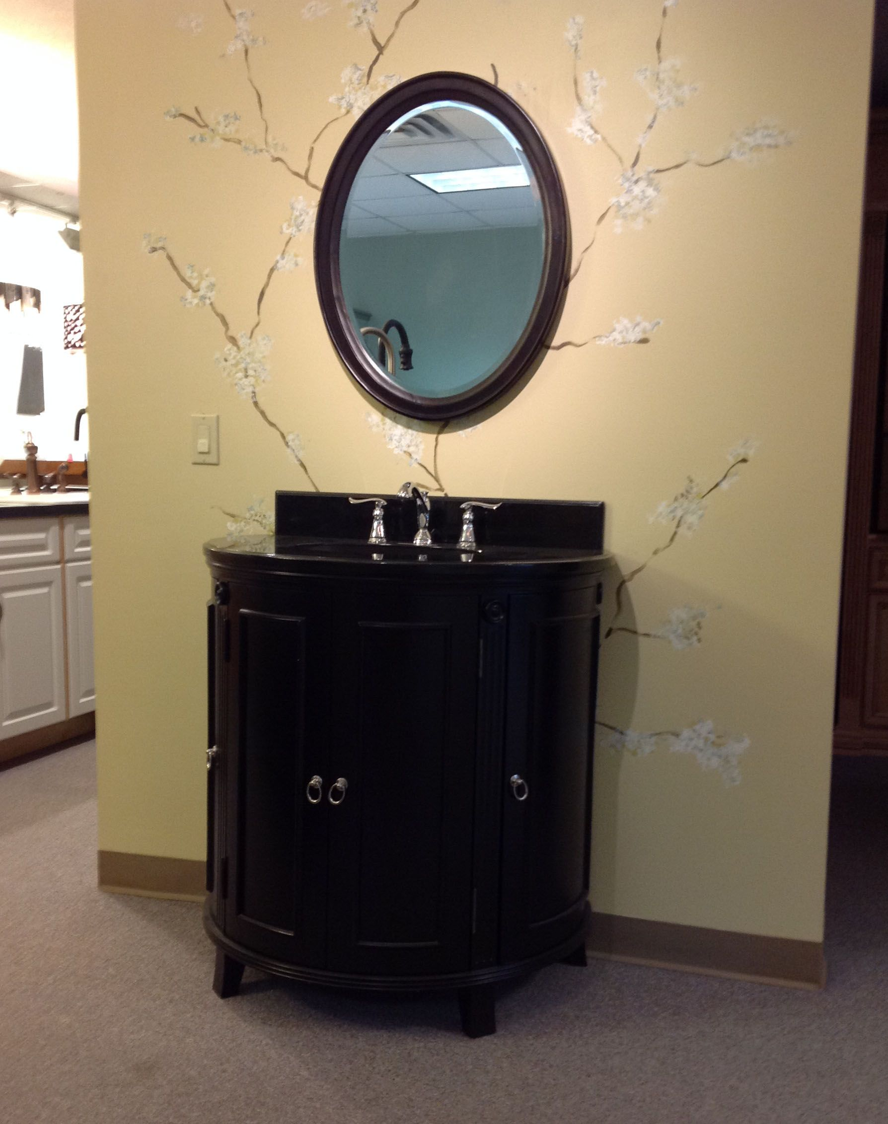 Round Front Vanity Black Granite Top And Matching Mirror On