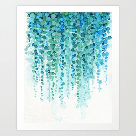 Succulent Plant Watercolor Painting - String of Pearls Plant - Botanical Decor - Botanical Print - Succulent Plant Art Print - Abstract Art