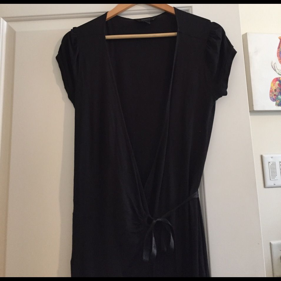 Black Cotton Wrap Dress