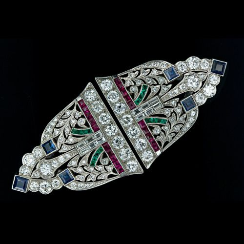 Art Deco Diamond and Colorful Gem Clip Brooch
