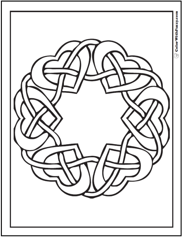Celtic Design Coloring: Mirrored Hearts | Celtic heart, Wreaths ...