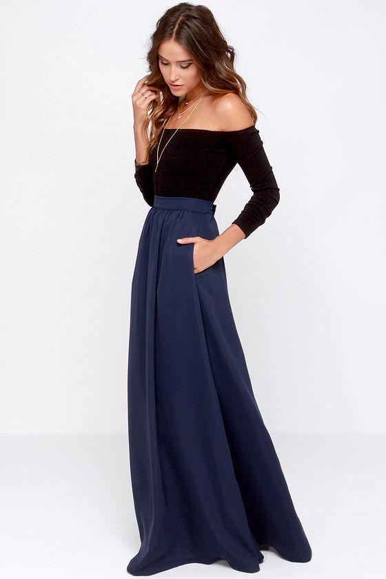 Tempting Fate Navy Blue Maxi Skirt   Blue maxi skirts, Blue maxi ...