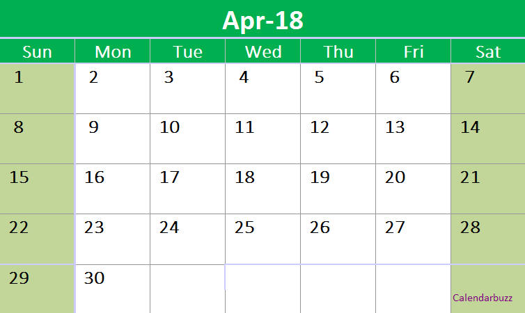 April 2018 Vertical Excel Template 2018 Calendar Templates