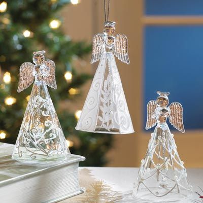 Collectible Glass Angel Bell Ornaments Outdoor Christmas Decorations Bell Ornaments Christmas Ornaments