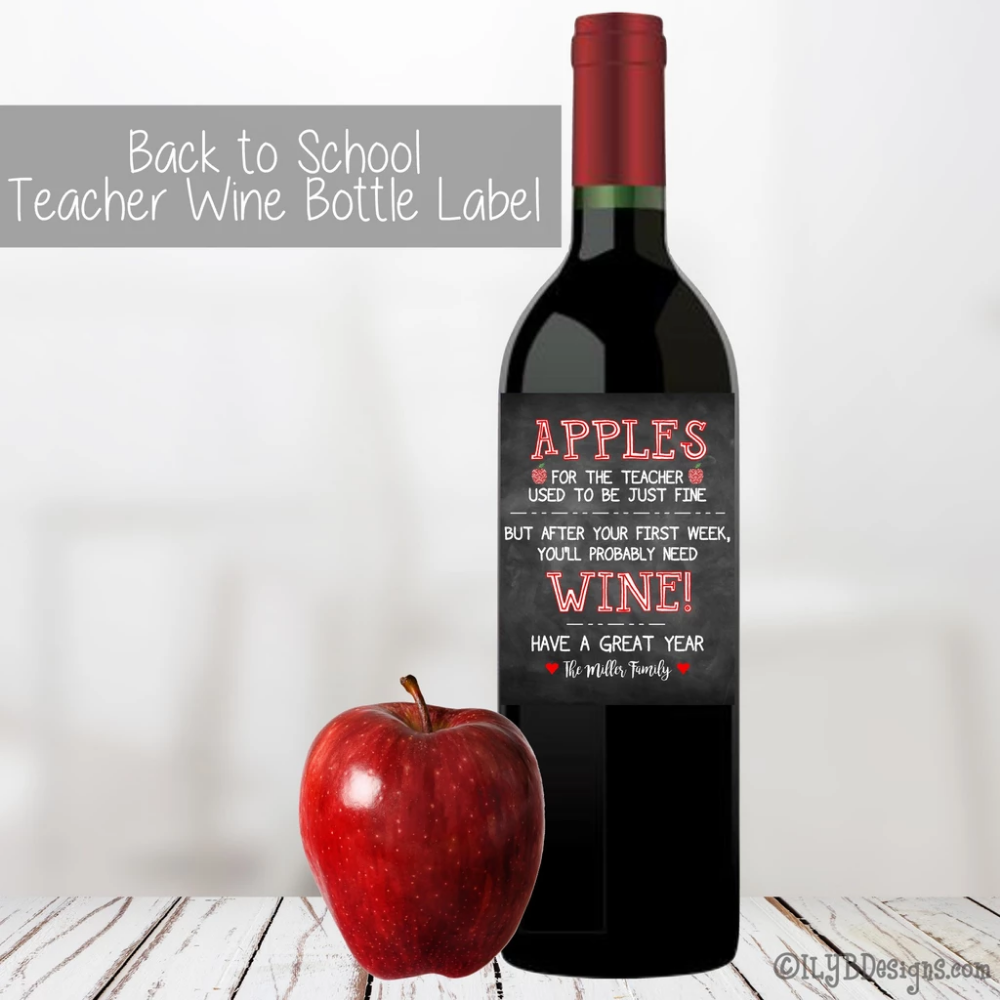 Teacher Wine Bottle Label Back to School Wine Label