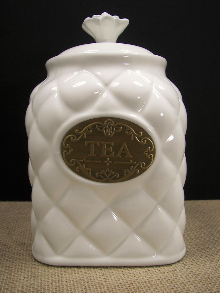 thl kitchen canisters thl pineapple quilted off white ceramic tea canister w brass name plate thl pineapple quilt 4728