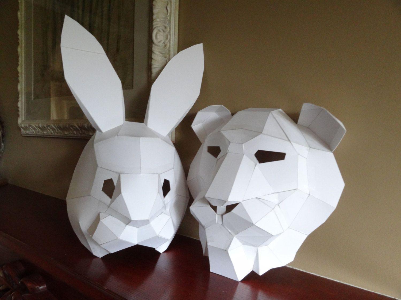 PDF Pattern, Make your own lion mask, rabbit mask, Instant ...