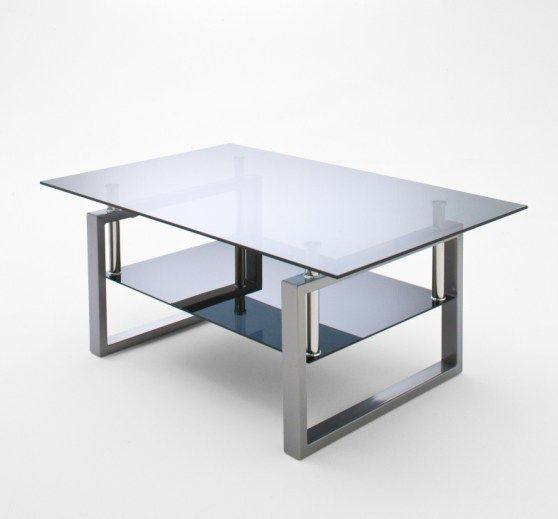 Alpha Coffee Table In Grey Glass With Chrome Legs Coffee Table