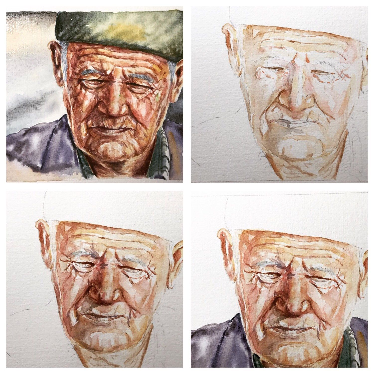 Watercolor Portrait Original Portrait Old Man Art Small Portrait