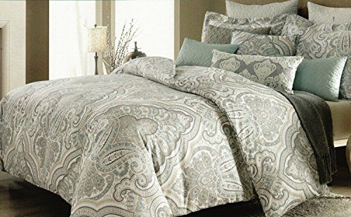 Nicole Miller Home Duvet Cover 3 Piece Set Paisley Moroccan Aqua Gray Taupe King For More Information Visit Image Link