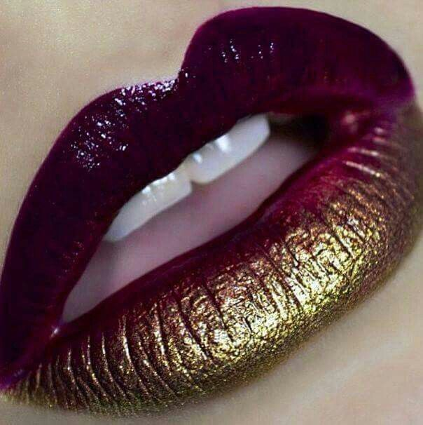 Red With Gold Like A Boss In 2019 Ombre Lips Lip Art