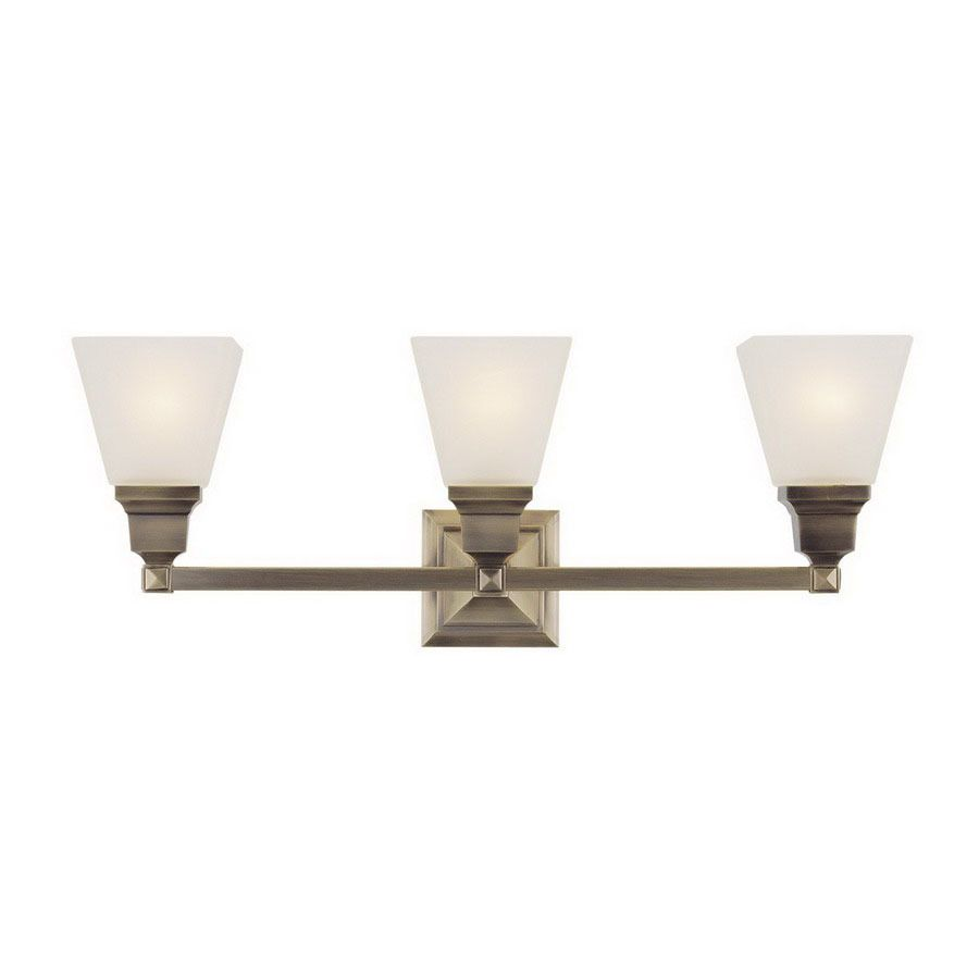 Livex Lighting Mission 3-Light 9.5-In Antique Brass Bell Vanity Light 1033-01  sc 1 st  Pinterest : bell lighting products - azcodes.com