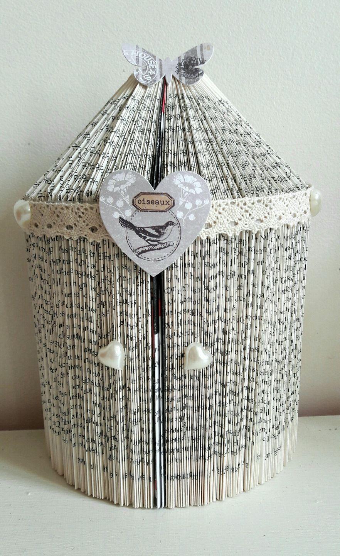 cage oiseaux sculpture livre pli amour accessoires de maison par mipouni81 origami. Black Bedroom Furniture Sets. Home Design Ideas