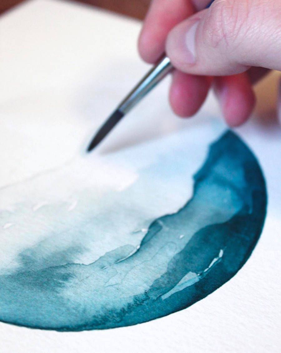 Poetic Ocean Watercolor Painting Watercolor Ocean Watercolor