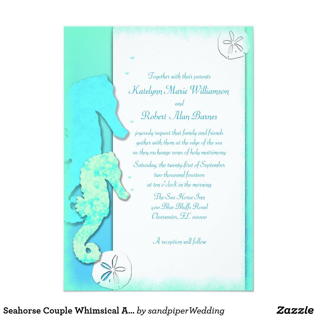 Seahorse Couple Whimsical Aqua Wedding Card | Seahorses, Wedding and ...