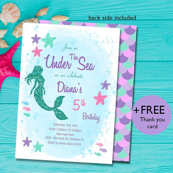 Cute Glitter Mermaid Invitation For Party Birthday This Listing Is