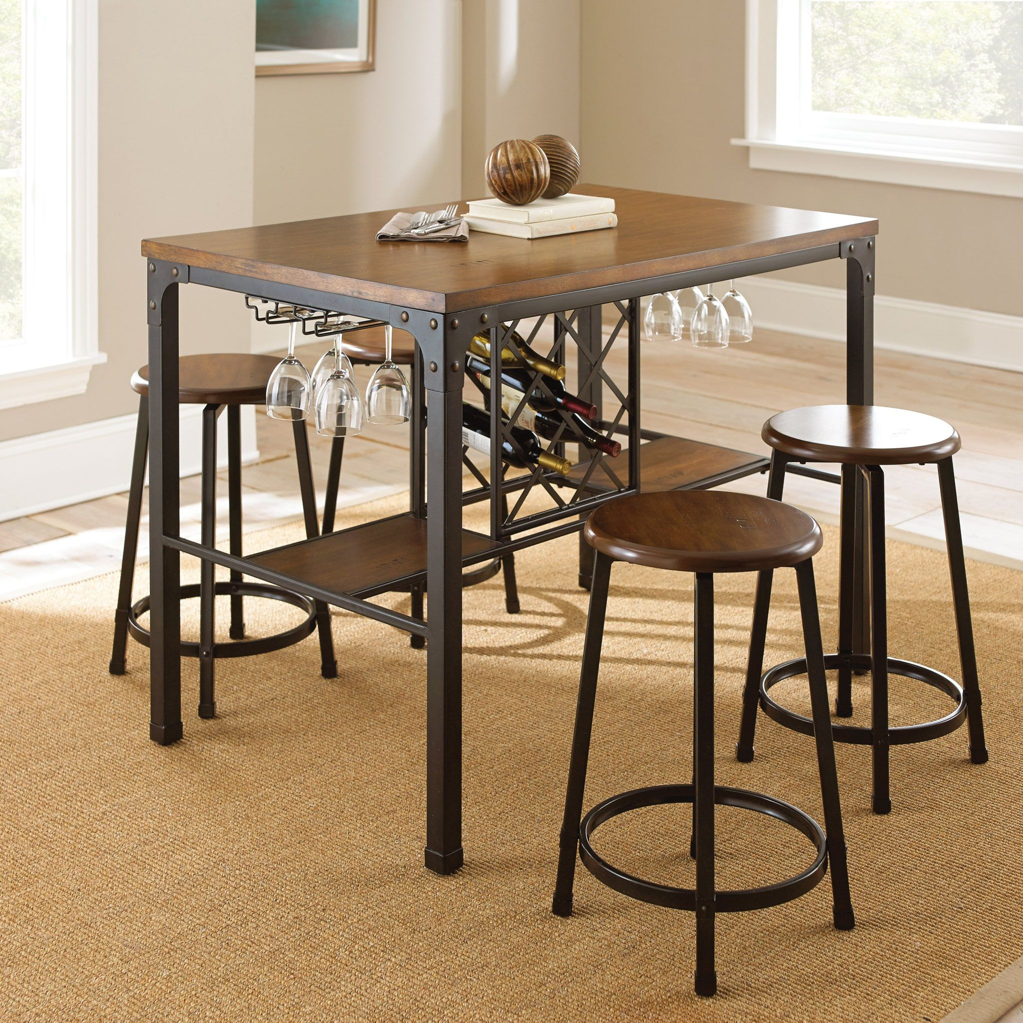 Creative Kitchen Table With Wine Rack Underneath Counter Height Dining Table Set Pub Table Sets Counter Height Pub Table
