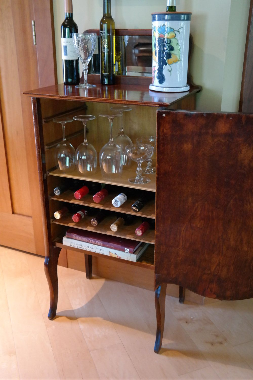 Antique Vintage Wood Cocktail Wine Bar Serving Station Record