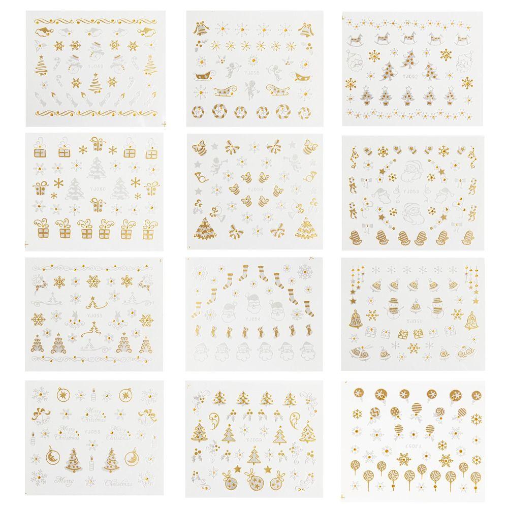 12 Designs Weihnachten Nail art Aufkleber 3D Gold & Silber Metallic ...