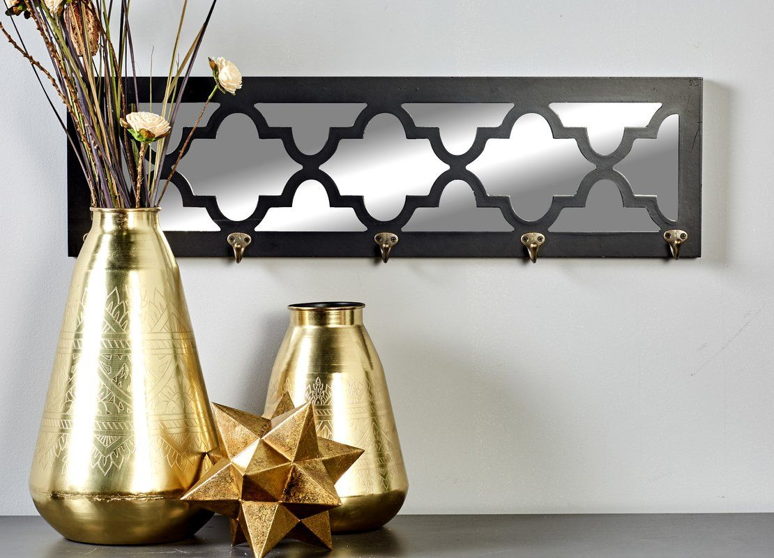 Wood mirror wall mounted coat rack foyer pinterest wall