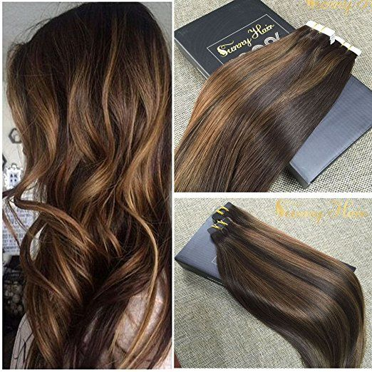 Sunny 14inch 20pcs 50g Two Tone Color 2 Fading To Dark Brown Mixed