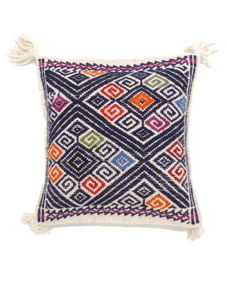 Handwoven Lara Wool Pillow Cover Midnight Blue| Funda Lara en Lana Azu | Chiapas Bazaar| Fairtrade Mexican Artisanal Collection