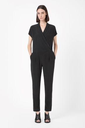Shawl collar silk jumpsuit