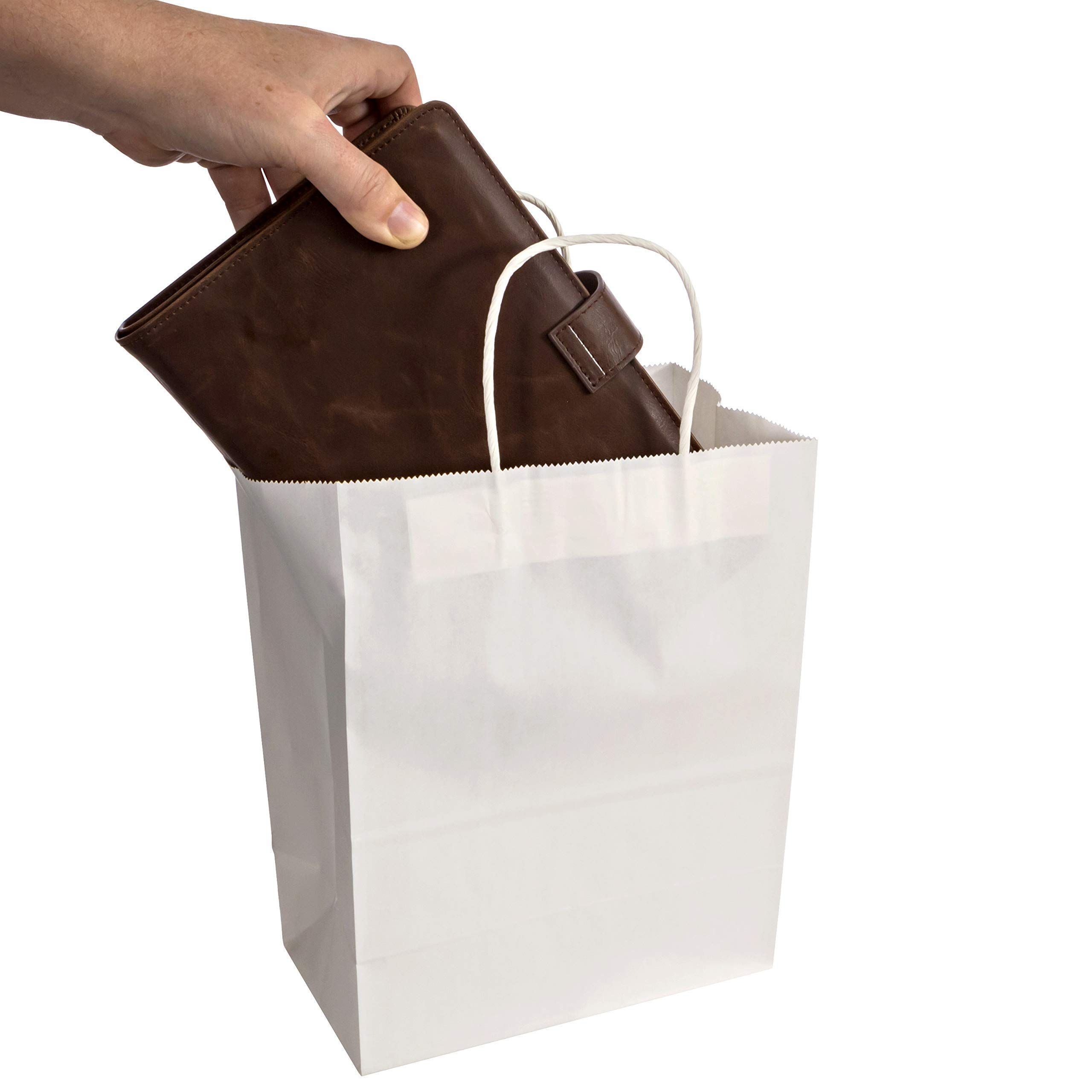 White Kraft Paper Gift Bags With Handles 50 Pcs 8x4 5x10 5