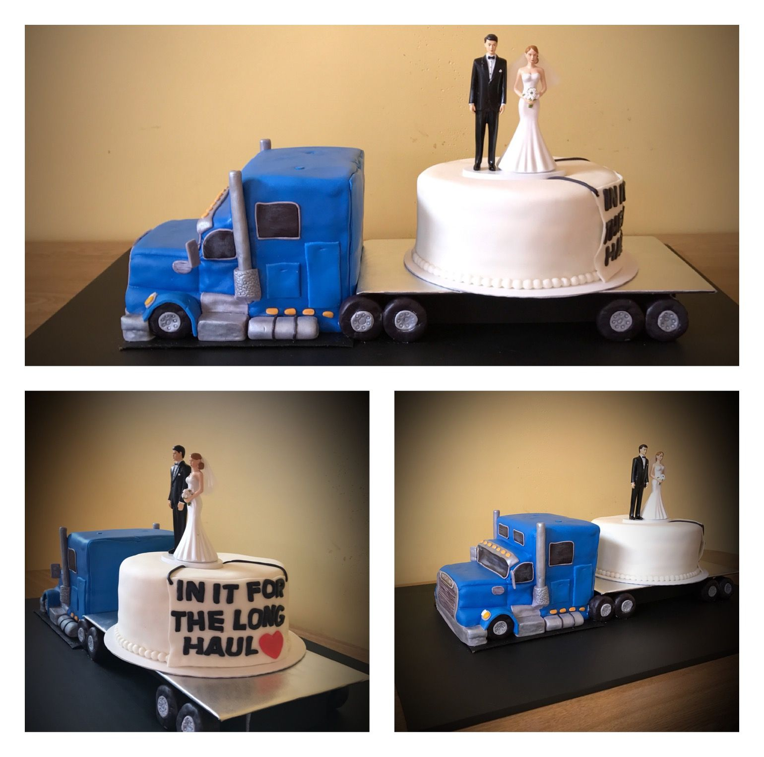 wedding cake topper with truck semi truck peterbilt freightliner kenworth wedding cake 26664