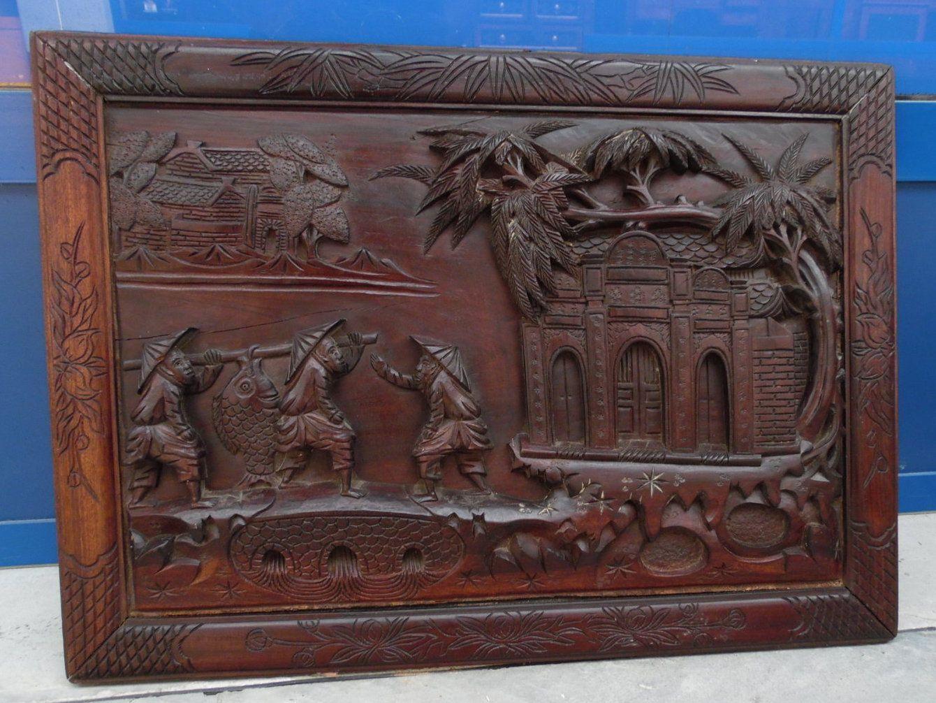 Quadro in legno esotico scolpito con pescatori lato 65 x 47 cm