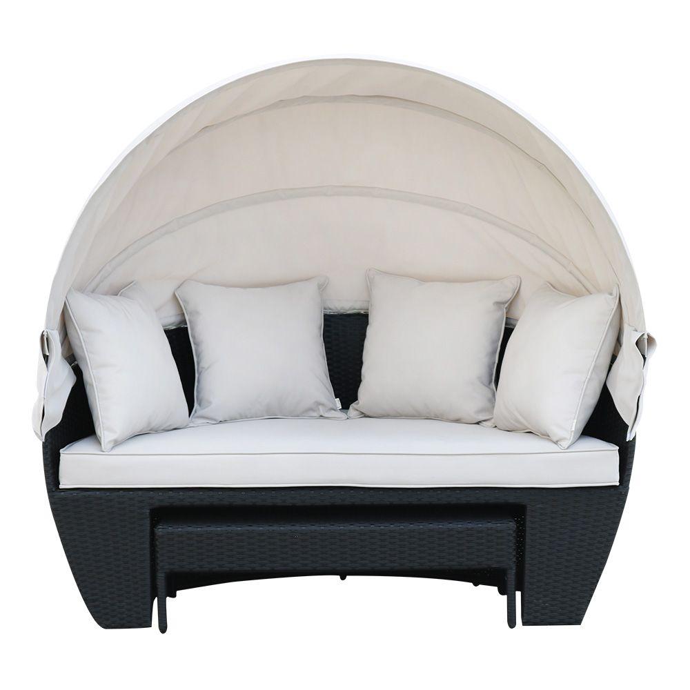 Buy Luxo Erith PE Wicker Outdoor Furniture Day Bed - Black Online Australia