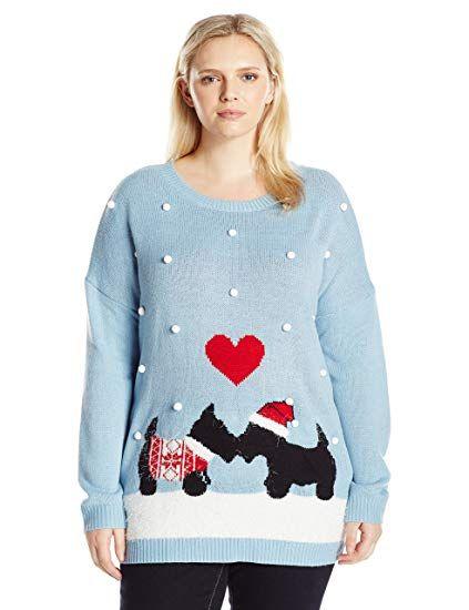 Notations Women\u0027s Plus-Size Schnauzer Puppy Love Ugly Christmas