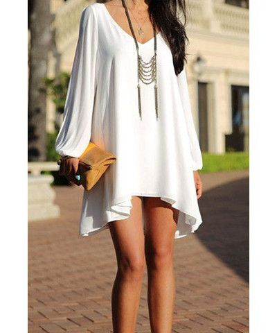 ba9c60f6df2b Elegant V-Neck Long Sleeve Loose-Fitting White Chiffon Dress For Women  Dispatch  Ships within 3 business days.FREE SHIPPING