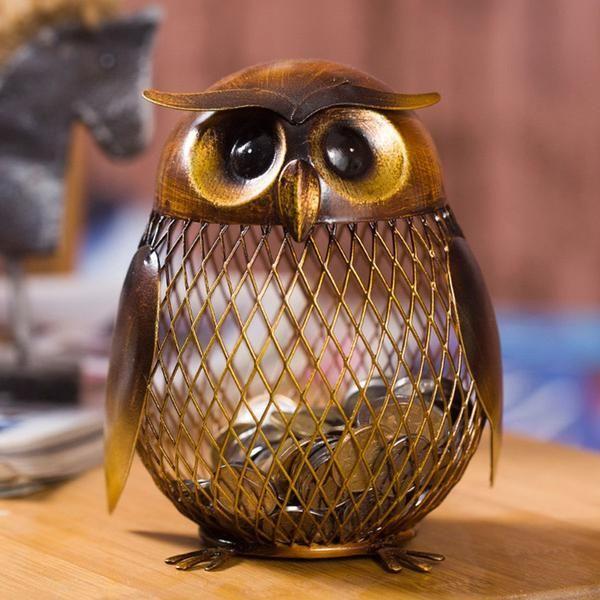 Owl Piggy Bank Coin Practical Sculp Home Decor