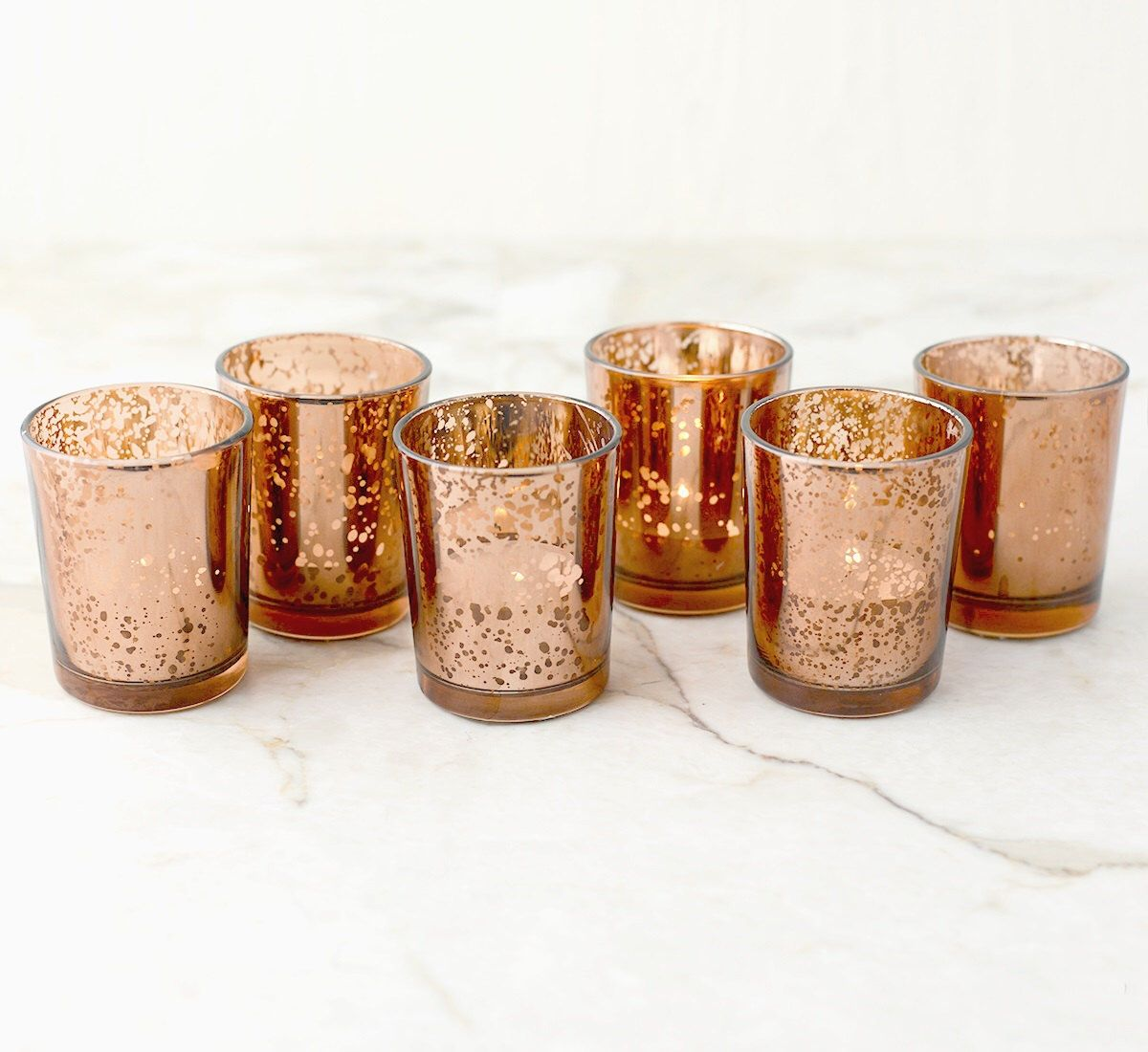 Set Of 60 Copper Rose Gold Mercury Glass Candle Votive