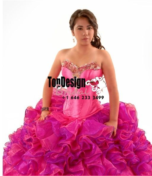 17420fcf85c 2017 new beaded hot pink and fuchsia organza ruffles puffy corset sweet 15 quinceanera  dress