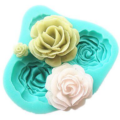 4 Rosen Silikonkuchenform-Backenwerkzeuge Zubehör für die Küche Fondant sugarcraft Schokoladenform Dekorationswerkzeuge – EUR € 3.83