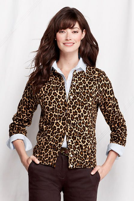 Women's Long Sleeve Print Fine Gauge Supima Cardigan from Lands ...