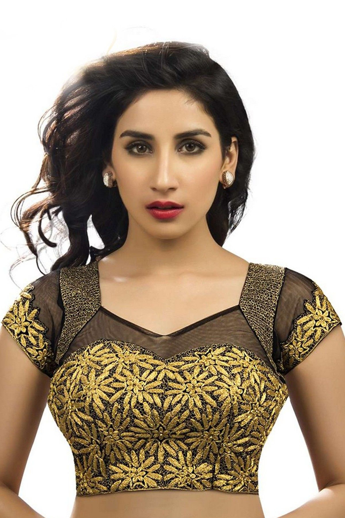 8bbb7712d59aae Black & gold raw silk & net designer blouse with v neck -BL554   Stylish  blouse designs for silk sarees   #black #gold #silkblouse