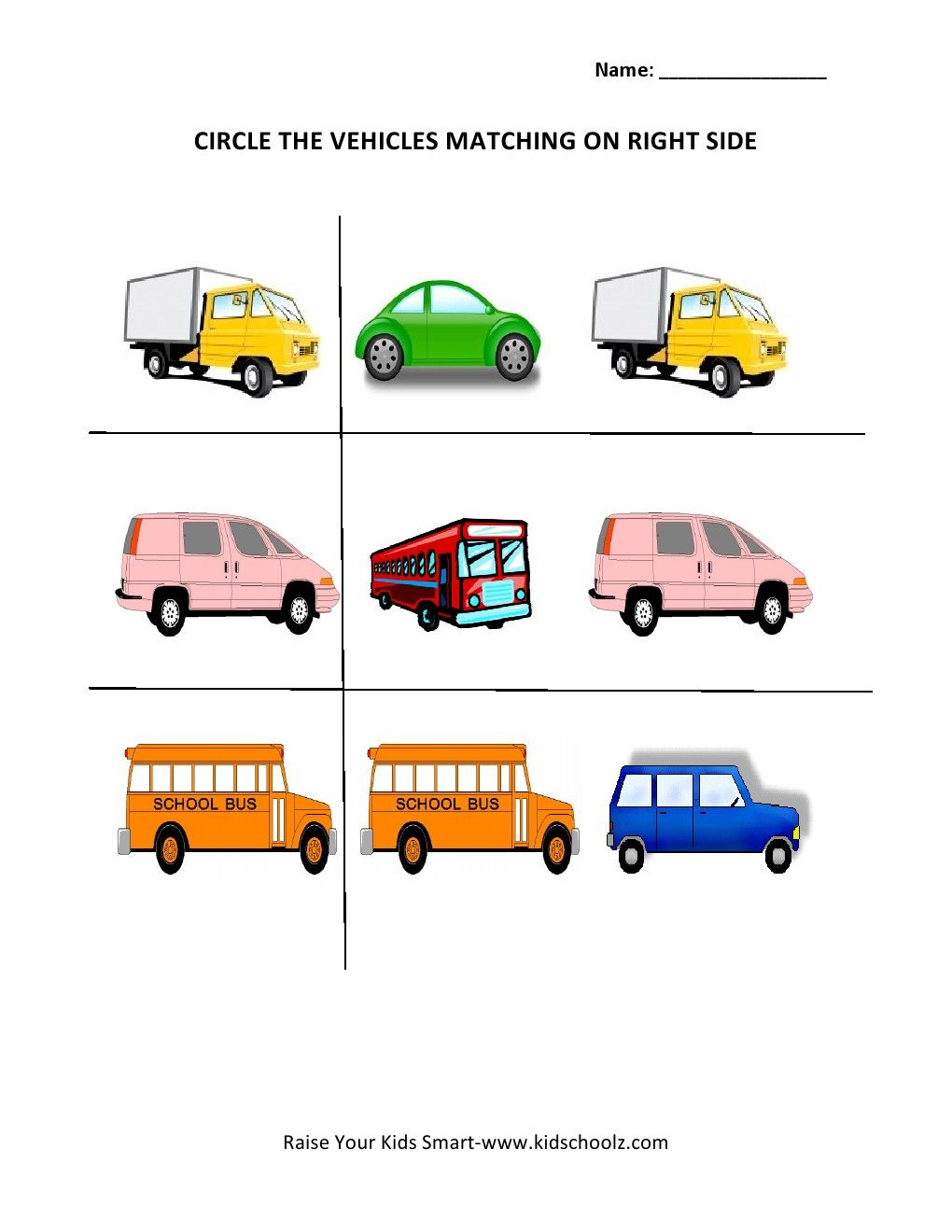 circle the matching picture worksheets vehicle tja worksheets vehicles kids learning. Black Bedroom Furniture Sets. Home Design Ideas