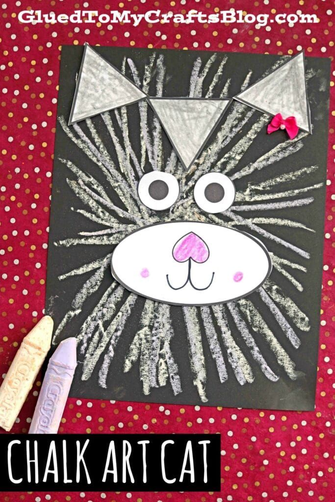 Paper & Chalk Art Cat - Kid Craft Idea