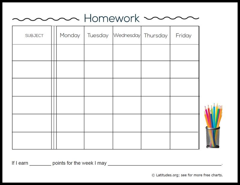 FREE Weekly Homework Chart (Intermediate ADHD Homework chart