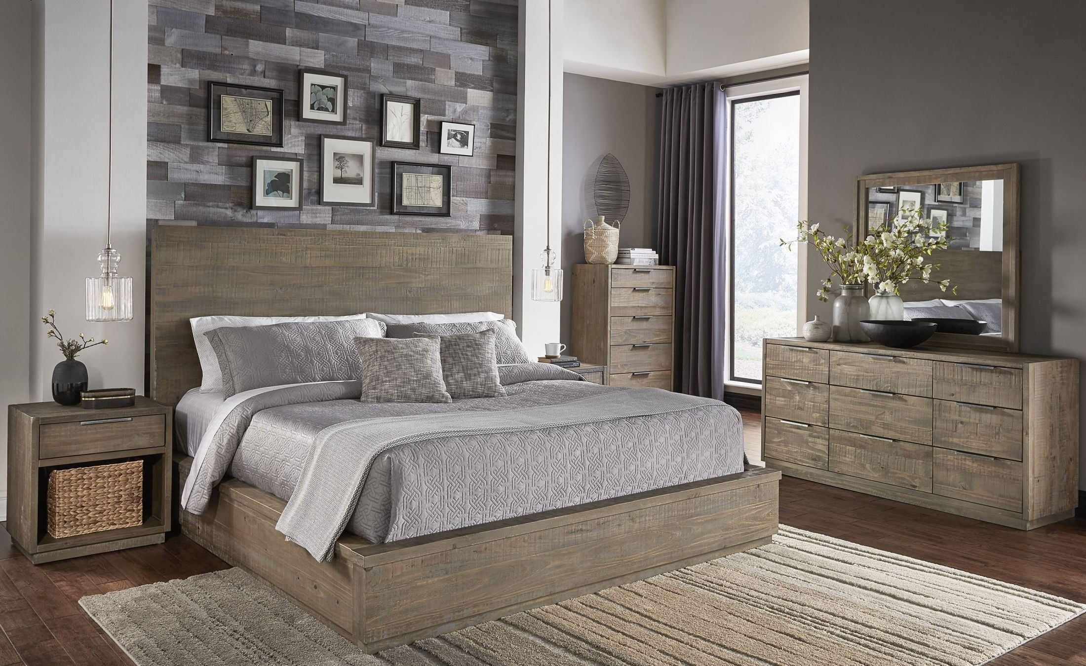 Grays Harbor Weathered Brown Platform Bedroom Set By A America