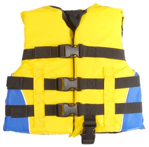 Blue and Yellow Colored General Child Sized Type III PFD Life Vest for Boats