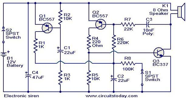Electronic siren circuit Diagram | Invention | Pinterest | Circuit ...