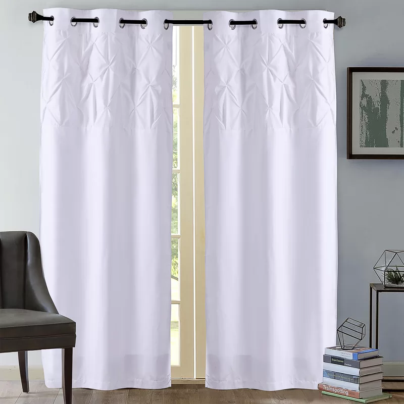 Stockbridge Pintuck Solid Color Opaque Grommet Curtain Panels